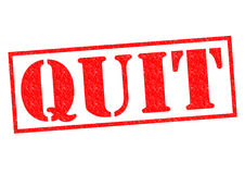 QUIT. Red Rubber Stamp over a white background Stock Image