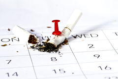 Quit Smoking. Cigarette butt pinned down with marker on calendar. Quit smoking from the new year day Royalty Free Stock Images
