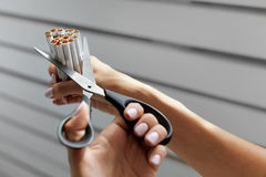 Quit Smoking. Closeup Of Woman Hands Cutting Cigarettes. Quit Smoking. Closeup Of Beautiful Woman Hands Holding Bunch Of Cigarettes And Cutting Them With Royalty Free Stock Photos
