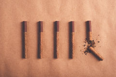 Quit smoking concept, flat lay arranged cigarettes Stock Photography