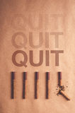 Quit smoking concept, flat lay arranged cigarettes Royalty Free Stock Photo