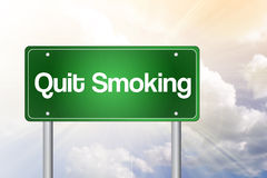 Quit Smoking Green Road Sign Royalty Free Stock Photos
