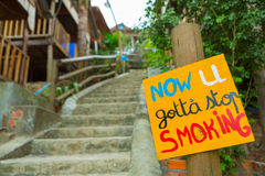 Quit Smoking placard with high stairs background, Cambodia Royalty Free Stock Image
