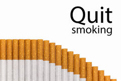 Quit smoking text graph of cigarettes Stock Photos