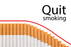 Quit smoking text graph cigarettes Royalty Free Stock Images