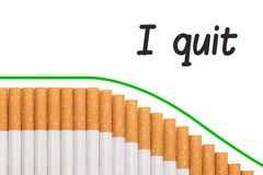 Quit smoking text graph cigarettes Stock Image