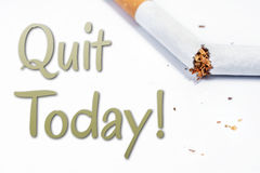 Quit Smoking Today Reminder With Broken Cigarette In Whitebox Royalty Free Stock Photography
