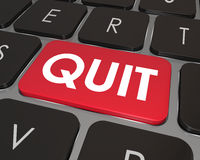 Quit Word Computer Keyboard Key Button Impulse Career Job Change. Quit Word on a red computer keyboard button or key to illustrate frustration or dissatisfaction Stock Image
