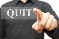 Quit word on virtual screen Royalty Free Stock Photography