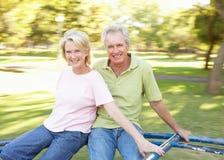 Équitation aînée de couples sur le rond point en stationnement Photo libre de droits
