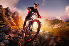 Équitation de cycliste de vélo de montagne Images libres de droits