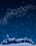 Équitation du père noël de Noël sur le traîneau. Photo libre de droits