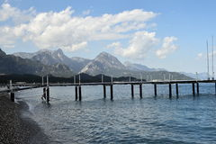 Quite beach with moutain. Kemer Turkish beach , quite place , sea side Royalty Free Stock Images