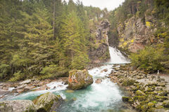 A quite big waterfall in the forest Stock Images