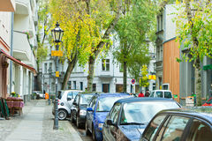 Quite city street with parked cars, Berlin Royalty Free Stock Photo
