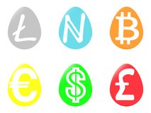 Quite the concept of different money in the eggs. On a white background Royalty Free Stock Photography
