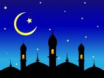 Quite the concept of Islamic Ramadan with a stars and a moon. On a dark blue background Royalty Free Stock Images