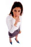 Quite female keep shushing Royalty Free Stock Images