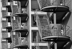 Quite a lot of fire escape. Fire escape - stairways for emergency exit royalty free stock photos