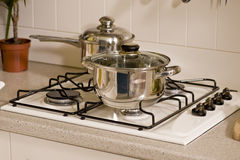 Quite new kitchen stuff. In silver black colors Stock Photo