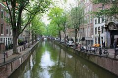 A quite river in Amsterdam royalty free stock photos
