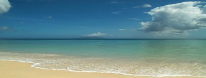 Quite sandy beach. Panorama. The panorama of beautiful quite tropical beach background Royalty Free Stock Photography