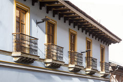 Quito balconies, old downtown Royalty Free Stock Photography