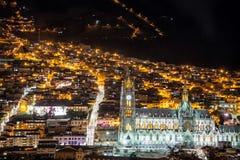 Quito Basilica at Night Royalty Free Stock Photos