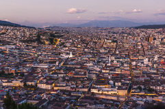 Quito capital city at sunset, Ecuador stock photo