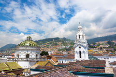 Quito Church and Hills Royalty Free Stock Photos
