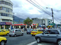 Quito city. Quito Ecuador city center busy streets stock photo