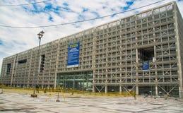 QUITO, ECUADOR 26 APRIL, 2017: De nieuwe moderne overheids financieel die beheer bouw van het platformbureau, door Rafaël wordt g Royalty-vrije Stock Foto