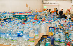 Quito, Ecuador - April,23, 2016: Disaster relief water for earthquake survivors in the coast. Gathered at Bicentenario Royalty Free Stock Photo