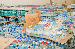 Quito, Ecuador - April,23, 2016: Disaster relief water for earthquake survivors in the coast. Gathered at Bicentenario Stock Photography
