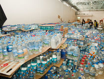 Quito, Ecuador - April,23, 2016: Disaster relief water for earthquake survivors in the coast. Gathered at Bicentenario Stock Image