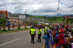 Quito, Ecuador - April,17, 2016: House destroyed by Earthquake with rescuers and heavy machinery in the south part of Stock Photo