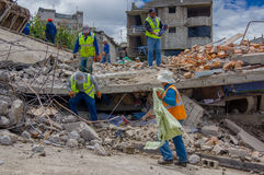 Quito, Ecuador - April,17, 2016: House destroyed by Earthquake with rescuers in the south part of the city Royalty Free Stock Images