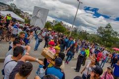 Quito, Ecuador - April,17, 2016: Unidentified citizens of Quito providing disaster relief food, clothes, medicine and Royalty Free Stock Photos