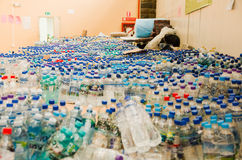 Quito, Ecuador - April 23, 2016: Water donated by citizens of Quito providing disaster relief for earthquake survivors Royalty Free Stock Photos