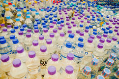 Quito, Ecuador - April 23, 2016: Water donated by citizens of Quito providing disaster relief for earthquake survivors Stock Photo