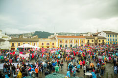 Quito, Ecuador - August 27, 2015: Large crowd gathered for anti government protests on city square.  Stock Image