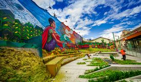 QUITO ECUADOR AUGUSTI 20 2017: Gatagrafitti på en vägg i den centrala Quito, Ecuador Royaltyfria Bilder