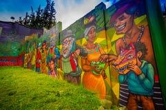 QUITO ECUADOR AUGUSTI 20 2017: Härliga gatagrafitti på en vägg i den centrala Quito, Ecuador Royaltyfri Foto