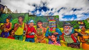 QUITO ECUADOR AUGUSTI 20 2017: Ursnygga gatagrafitti på en vägg i den centrala Quito, Ecuador Arkivbild