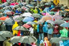 Quito, Ecuador - Augustus 27, 2015: Grote menigte en vele paraplu's in stadsstraten tijdens demonstraties Stock Foto's