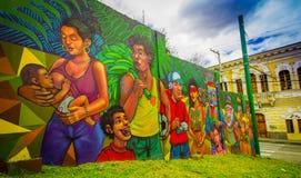 QUITO, ECUADOR 20 AUGUSTUS 2017: Schitterende straatgraffiti op een muur in centraal Quito, Ecuador Royalty-vrije Stock Foto's
