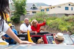 Quito, Ecuador - 5 de febrero de 2017: Cynthia Viteri, candidato presidencial al partido social de Partido Cristiano, adelante Foto de archivo