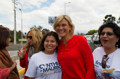 Quito, Ecuador - 5 de febrero de 2017: Cynthia Viteri, candidato presidencial al partido social de Partido Cristiano, durante Fotografía de archivo libre de regalías
