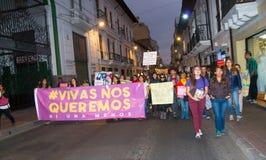 QUITO, ECUADOR 6 DE MAYO DE 2017: Mujer que lleva a cabo una muestra durante una protesta con el lema viva los queremos, protesta fotografía de archivo
