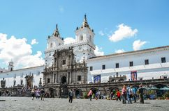 Church and Monastery of St. Francis is a 16th-century Roman Catholic complex in Quito, Ecuador. Quito, Ecuador, December 17, 2017: Church and Monastery of St Royalty Free Stock Photos